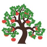 Apfelbaum auf Weiß Stockbild