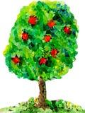 Apfelbaum mit Früchten von den Dreiecken Lizenzfreie Stockbilder
