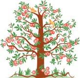 Apfelbaum mit Vögeln Stockfoto