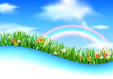Apfelbaum, Sonne, Blumen, Wolken, Wiese? Stockbilder