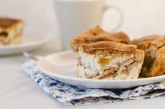 Apfelkuchen auf der Platte Lizenzfreie Stockfotos