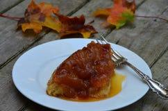 Apfelkuchen auf einer weißen Platte Lizenzfreie Stockfotografie