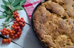Apfelkuchen auf hölzernem Hintergrund Stockfotos