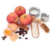 Apfelkuchen-Bestandteile stockfotos