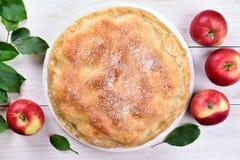 Apfelkuchen, Draufsicht Stockfoto