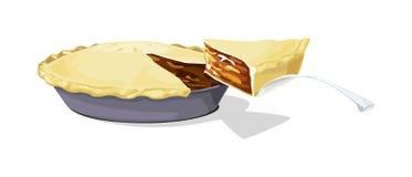 Apfelkuchen mit einer Scheibe Stockfoto