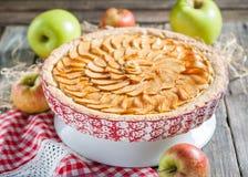 Apfelkuchen mit Hüttenkäse Stockfotografie