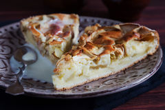 Apfelkuchen mit Kondensmilch Stockfoto