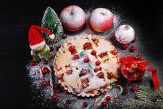 Apfelkuchen mit Moosbeere für Weihnachten in der Winterlandschaft Stockfoto