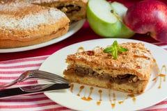 Apfelkuchen mit Nüssen und Rosinen nieselte mit Karamelsirup stockfotos