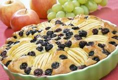 Apfelkuchen mit Trauben Lizenzfreie Stockfotos