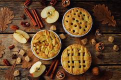 Apfelkuchen mit unterschiedlichem Design lizenzfreie stockbilder