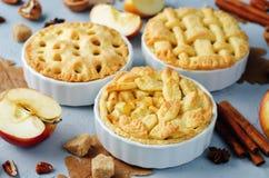Apfelkuchen mit unterschiedlichem Design lizenzfreies stockbild