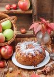 Apfelkuchen mit Zimt, Kardamom, Anis, Puderzucker stockfoto