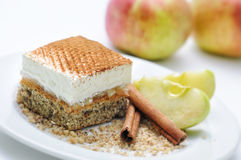 Apfelkuchen mit Zimt, Sahnekuchen auf weißer Platte, Mohnblumenkuchen mit Sahne, on-line-Shopphotographie, Konditorei, Süßspeise Stockfoto