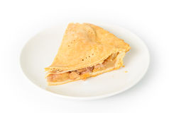 Apfelkuchen-Scheiben-weißer Platten-Hintergrund Stockfotos