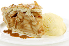 Apfelkuchen und Eiscreme Stockfotos