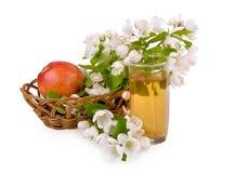 Apfelsaft, Apfel und Blumen Lizenzfreie Stockbilder