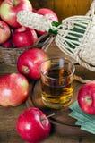 Apfelsaft in einem Glas, in den Äpfeln und in der Flasche lizenzfreie stockbilder