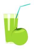 Apfelsaft im Glas wird auf einem weißen Hintergrund lokalisiert Frucht ju stock abbildung
