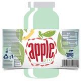 Apfelsaft-Produktaufkleber Stockbild