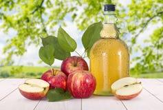 Apfelwein und rote Äpfel Stockbild