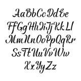 Aphabet manuscrit de vecteur Police tirée par la main de lettrage Type de cursive de calligraphie de manuscrit de brosse Photographie stock