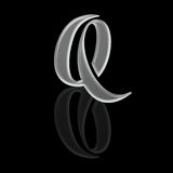 Aphabetical Script Letter - Silver Metal Q Stock Photography