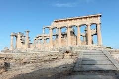 Aphaia寺庙在Aegina的 免版税库存照片