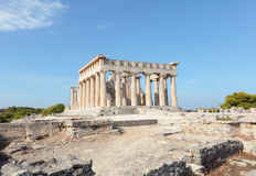 Aphaia寺庙在Aegina的 库存照片
