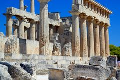 Aphaia temple on Aegina island Stock Photo