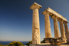 Aphaia temple in Aegina Island, Greece. Aphaia temple and Mediterranean Sea in Aegina Island, Greece Stock Photography