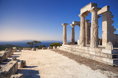 Aphaia temple in Aegina Island, Greece. Aphaia temple and Mediterranean Sea in Aegina Island, Greece Stock Image