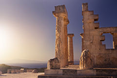 Aphaia temple on Aegina Island, Greece. Aphaia temple at sunset on Aegina Island, Greece Royalty Free Stock Photo