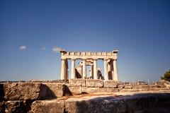 Aphaiatempel op Aegina-Eiland, Griekenland Royalty-vrije Stock Fotografie