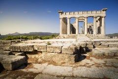 Aphaiatempel op Aegina-Eiland, Griekenland stock afbeelding