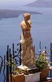 Aphrodete. Aphrodite on balcony at Santorini island, Greece royalty free stock image