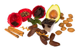 Aphrodisiac ingredients. Still life with aphrodisiac food ingredients stock image