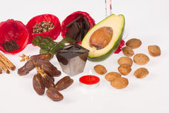 Aphrodisiac ingredients for Valentines day. Still life with aphrodisiac food ingredients stock photo