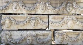 Aphrodisias, Portico of Tiberius, faces Stock Images