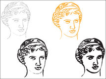 Aphrodite. Head of goddess Aphrodite in various styles Stock Image