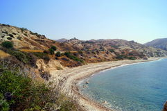 Aphrodite Bay. Beautiful beach located next to the Rock of the Greek, the birthplace of the goddess Aphrodite, Cyprus. Stock Image