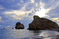 Aphrodite birthplace. (Petra Tou Romiu) place in Cyprus where goddess of love was born Royalty Free Stock Photo