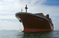 Aphrodite des Containerschiff-NYK, die auf den Straßen am Anker steht Primorsky Krai Ost (Japan-) Meer 17 09 2015 Lizenzfreie Stockfotografie