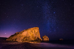 Aphrodite miejsce narodzin pod gwiazdami, Cypr Obrazy Stock
