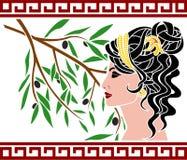 Aphrodite och olive filial stock illustrationer