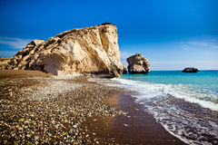 Aphrodite's birthplace beach in Paphos, Cyprus Royalty Free Stock Image