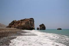 Aphrodite`s birthplace. Aphrodite`s Rock or Petra tou Romiou.Cyprus. Aphrodite`s birthplace know also as Aphrodite`s Rock or Petra tou Romiou.Cyprus Royalty Free Stock Image