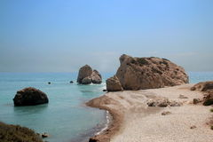 Aphrodite`s birthplace. Aphrodite`s Rock or Petra tou Romiou.Cyprus Royalty Free Stock Photo