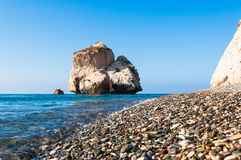 Aphrodite's Rock. Bay on the island of Cyprus with the legendary rock of Aphrodite Royalty Free Stock Images